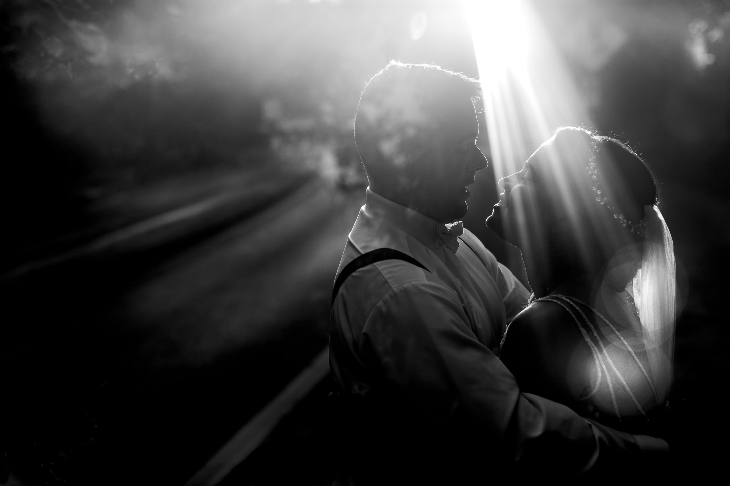 Gorgeous photo of bride and groom during sunset light for their Portland Wedding elopement