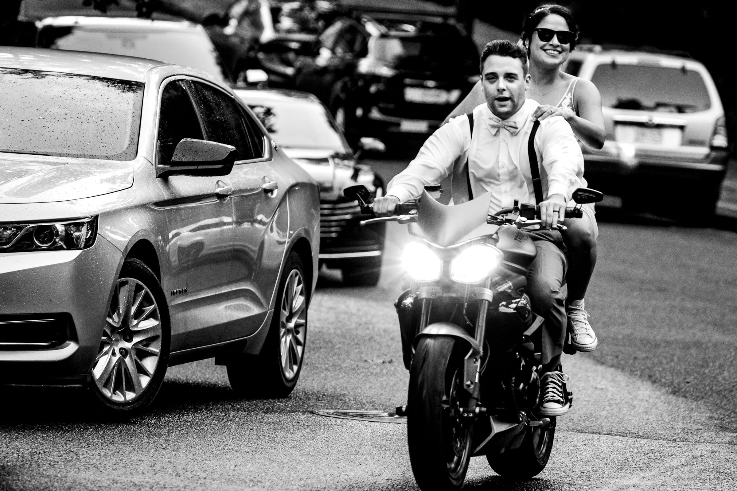 Bride and groom on motorcycle during their Portland Wedding elopement