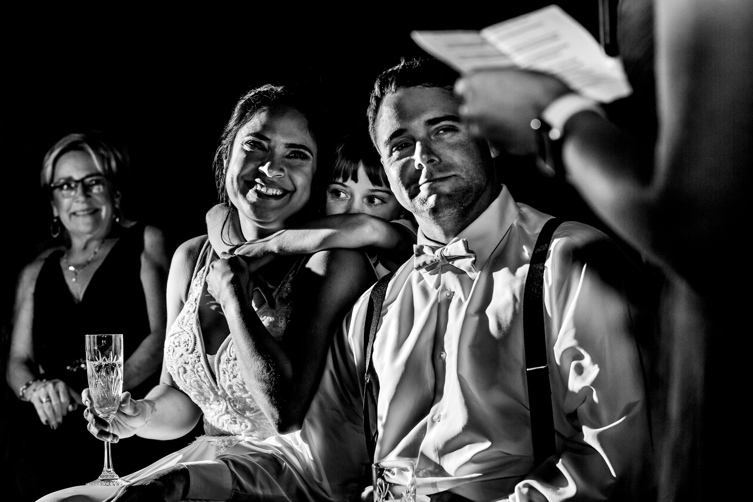 Bride and groom reaction to speech during their Portland Elopement