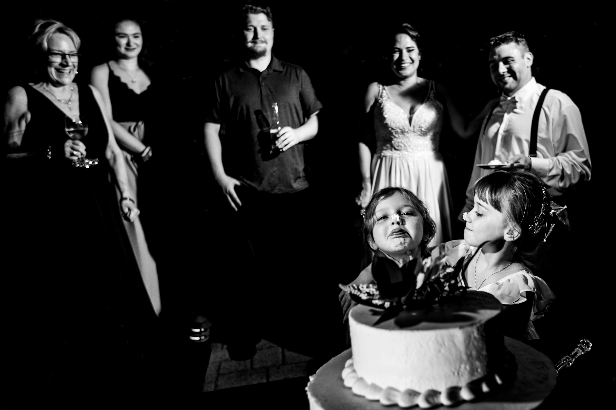Kids with cake on their faces during a Portland Wedding elopement