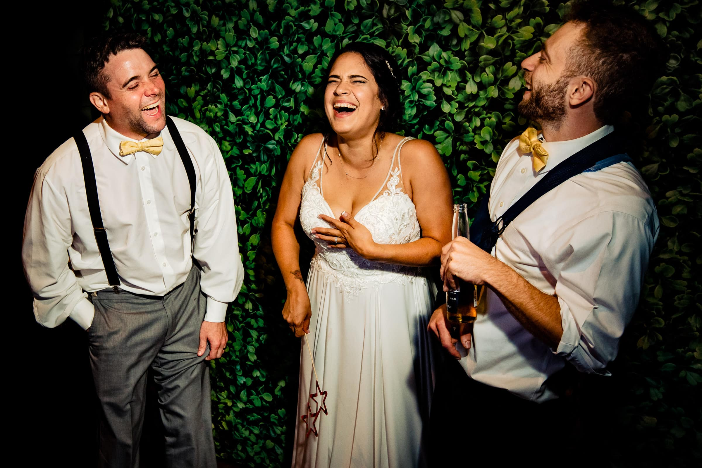 Bride and groom laughing in a photo booth during their Portland Wedding elopement