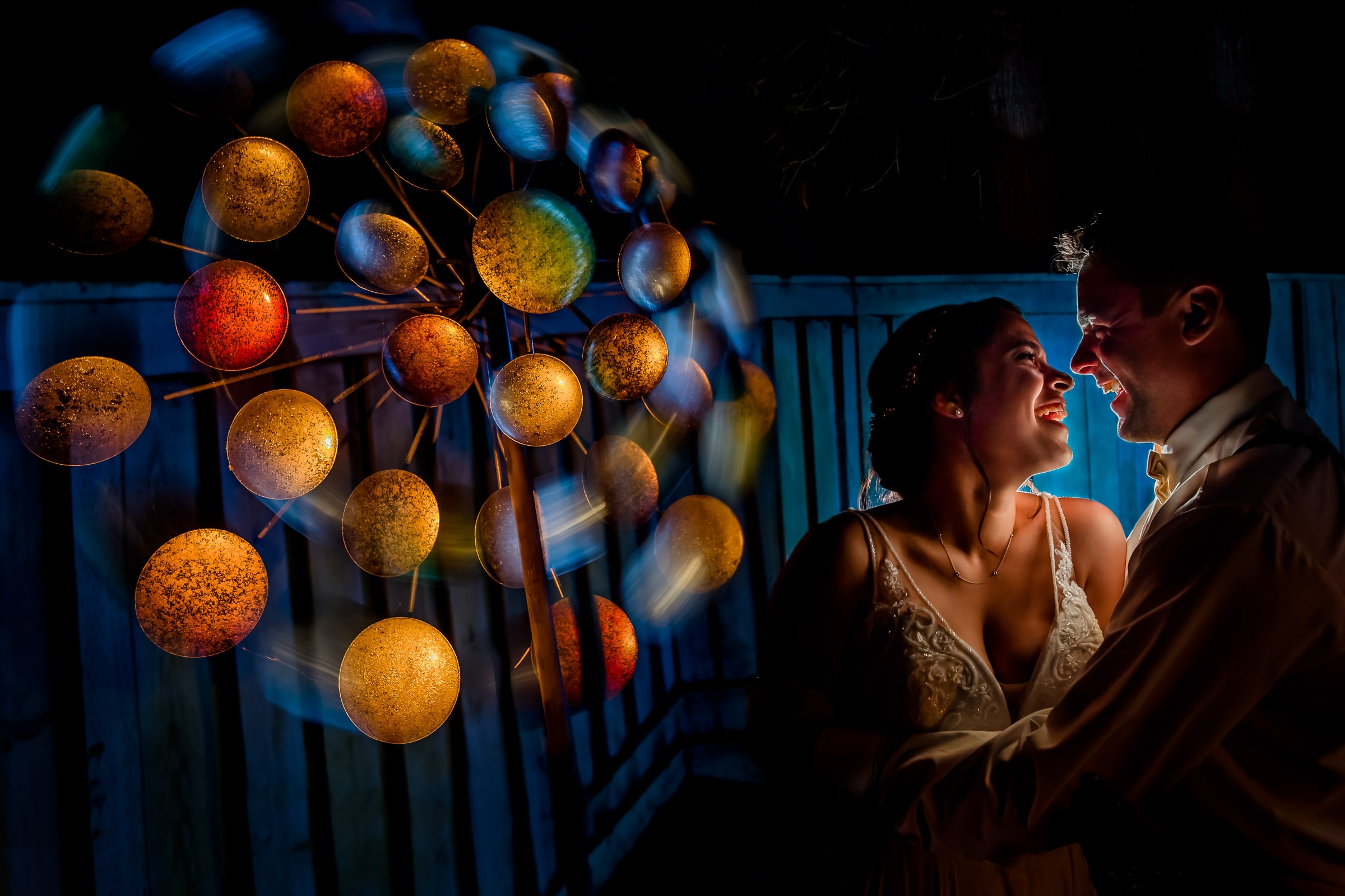 Epic bride and groom night portrait during their Portland Wedding elopement