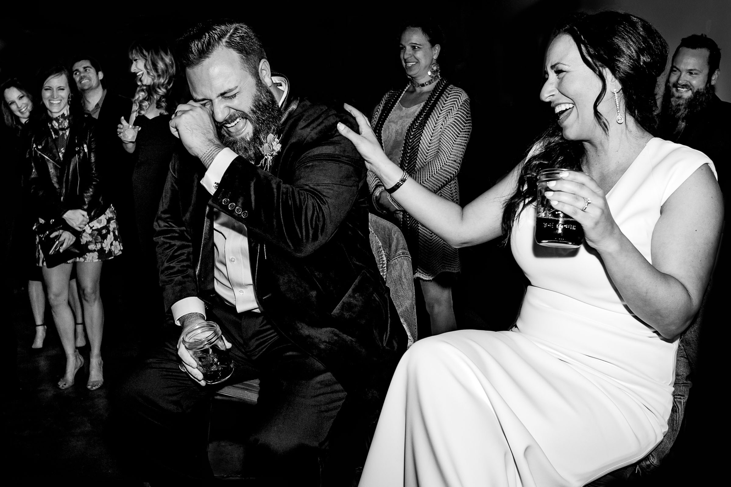 Bride and groom laughing and crying during an epic Los Angeles Wedding reception speech