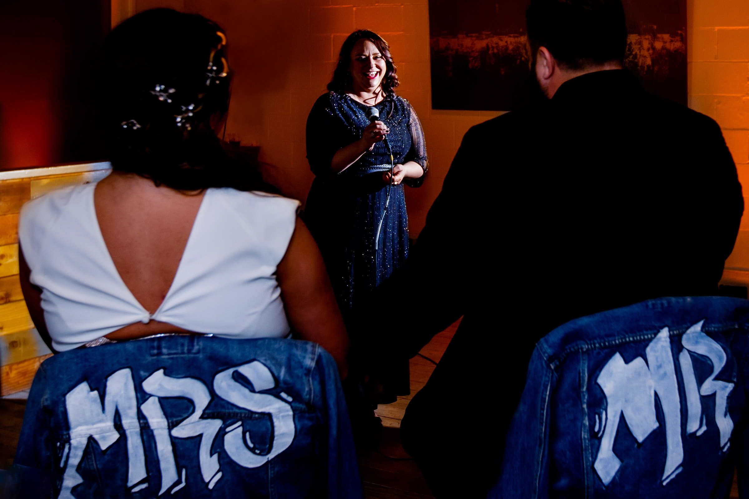 Best friend speech during a bride and grooms Los Angeles wedding reception