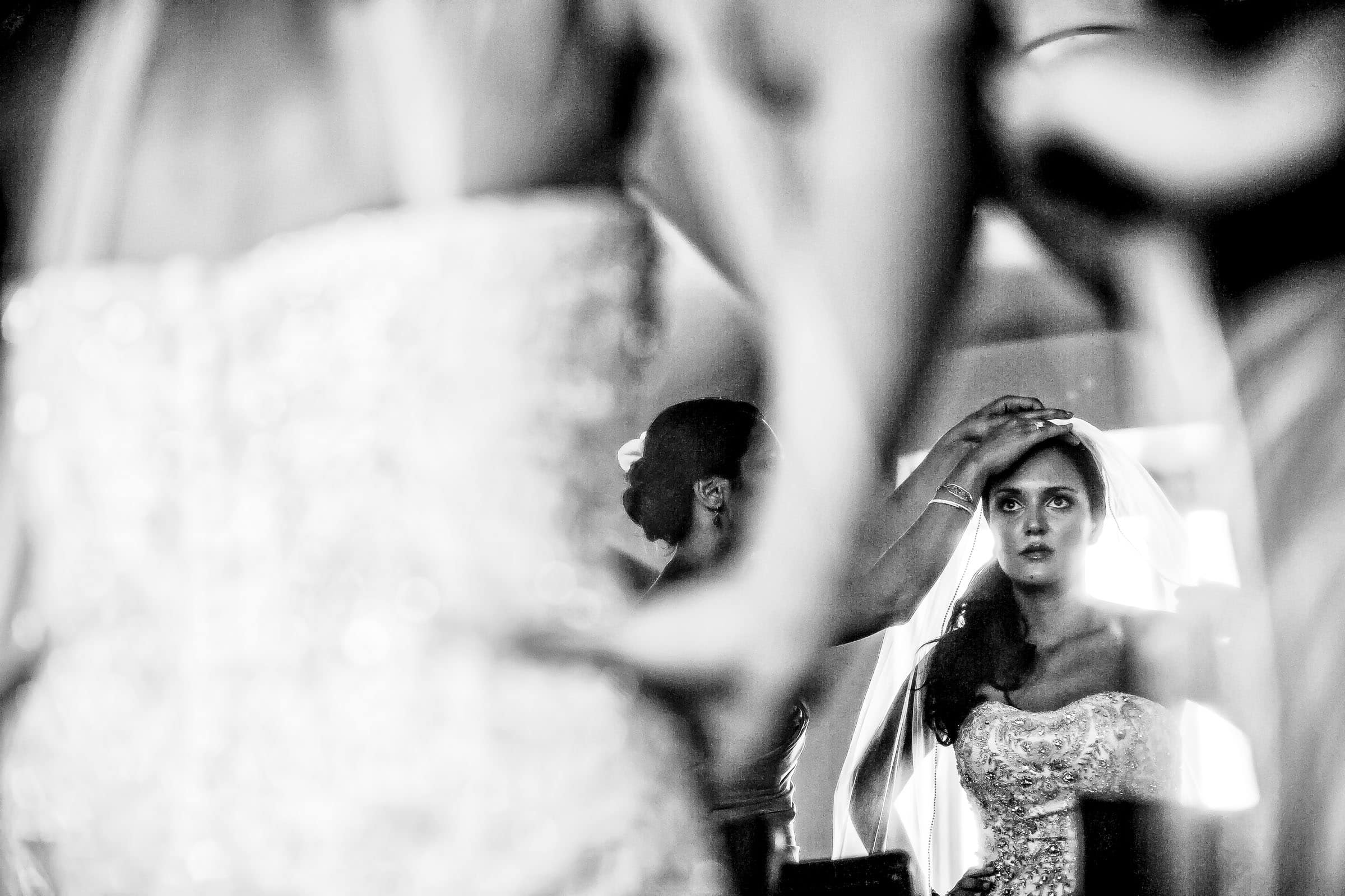 Bride getting reading moments before her Oregon Golf Club wedding ceremony