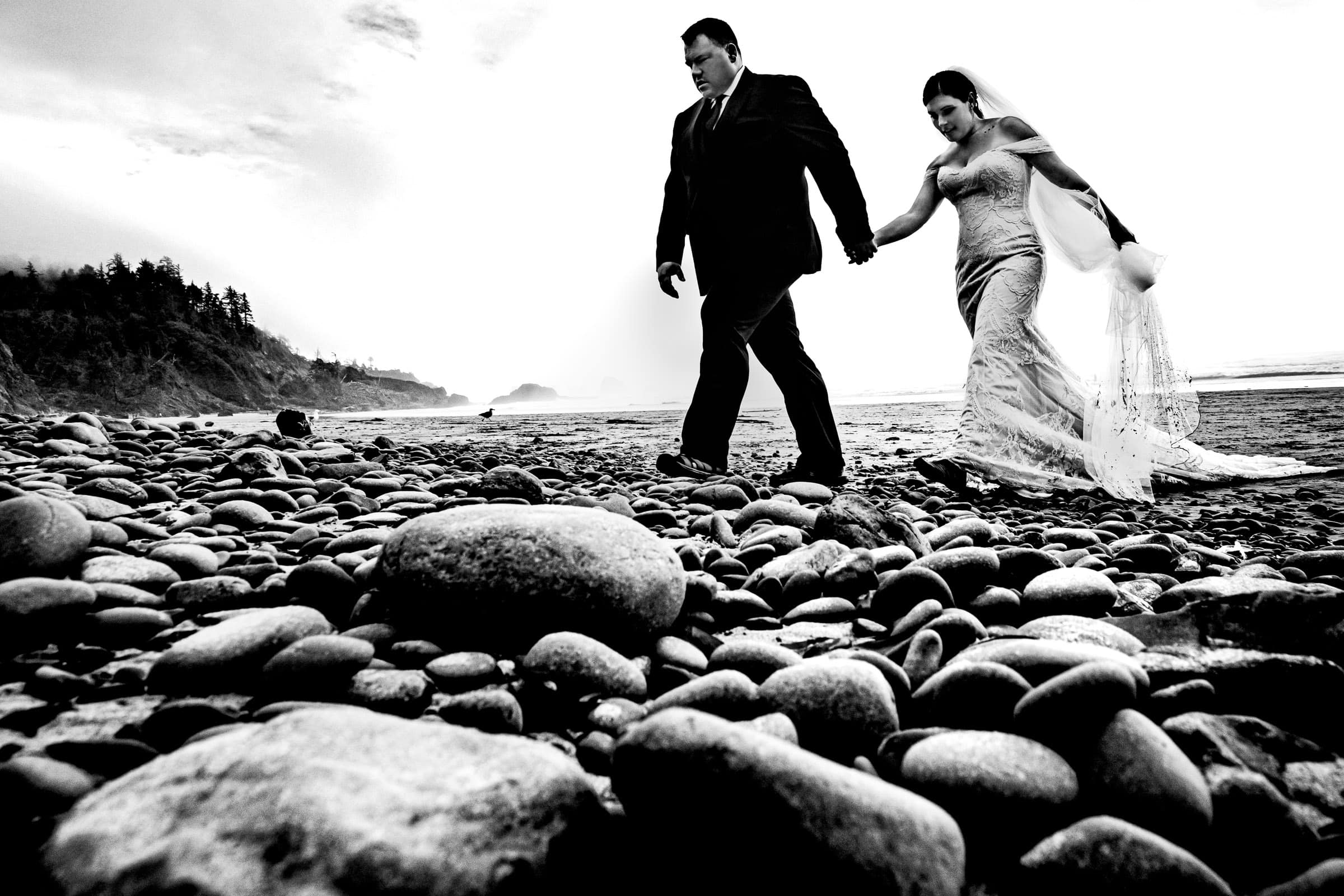 Adventure with bride and groom for their Cannon Beach elopement