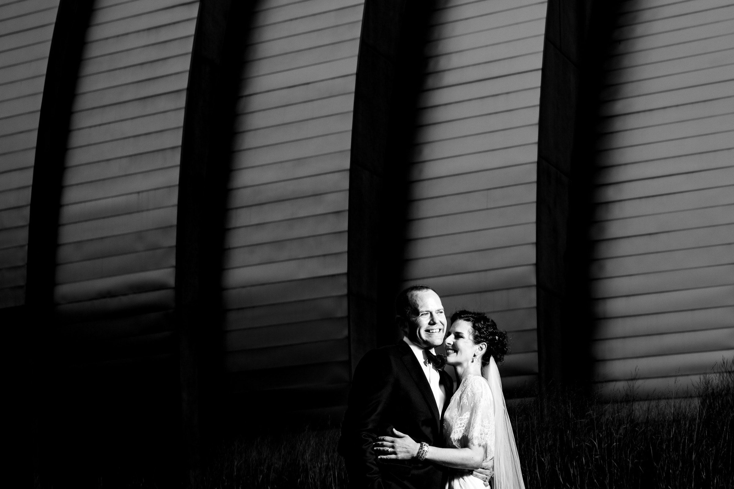 Bride and groom portrait at Kauffman Center during their Kansas City wedding