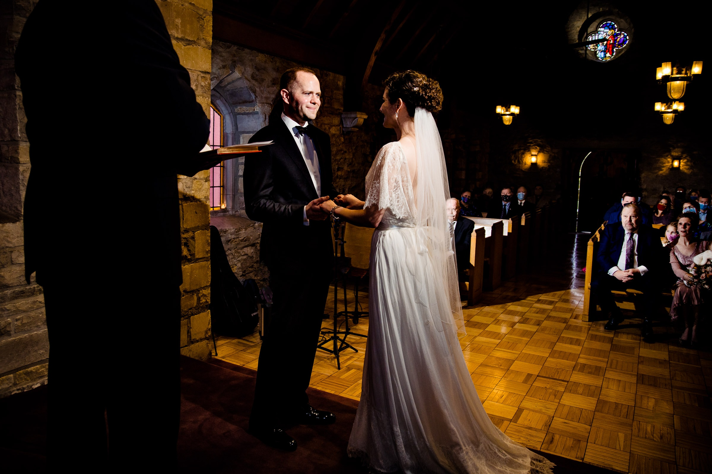 Bride and groom during their Kansas City elopement ceremony at the Pilgrim Chapel