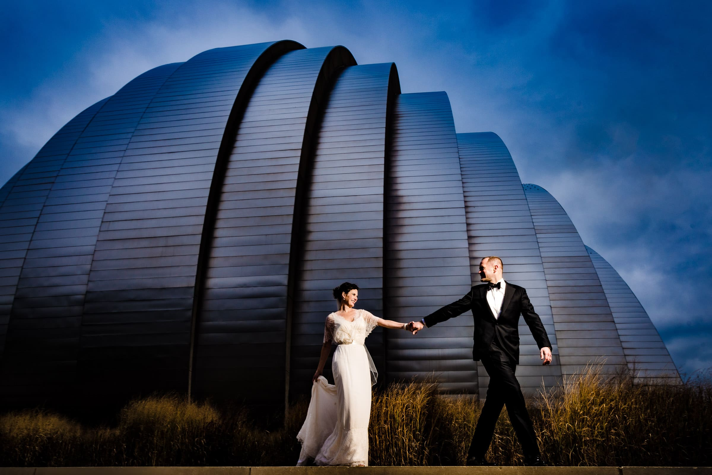 Bride and Groom portrait at the Kauffman Center after their Kansas City elopement ceremony at the Pilgrim Chapel.