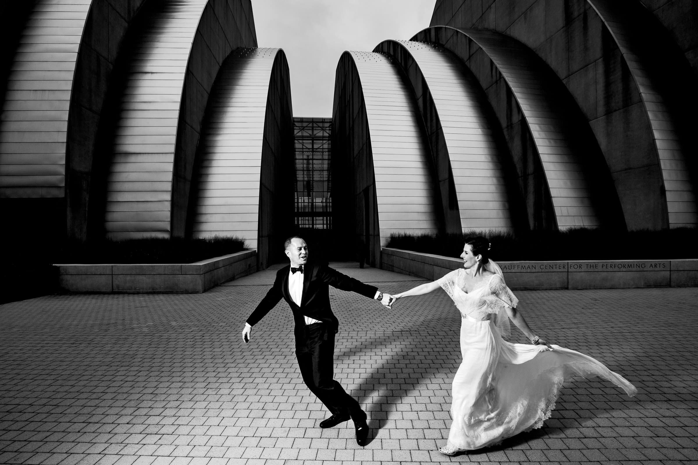 Bride and Groom creative portrait at the Kauffman Center after their Kansas City elopement ceremony at the Pilgrim Chapel.