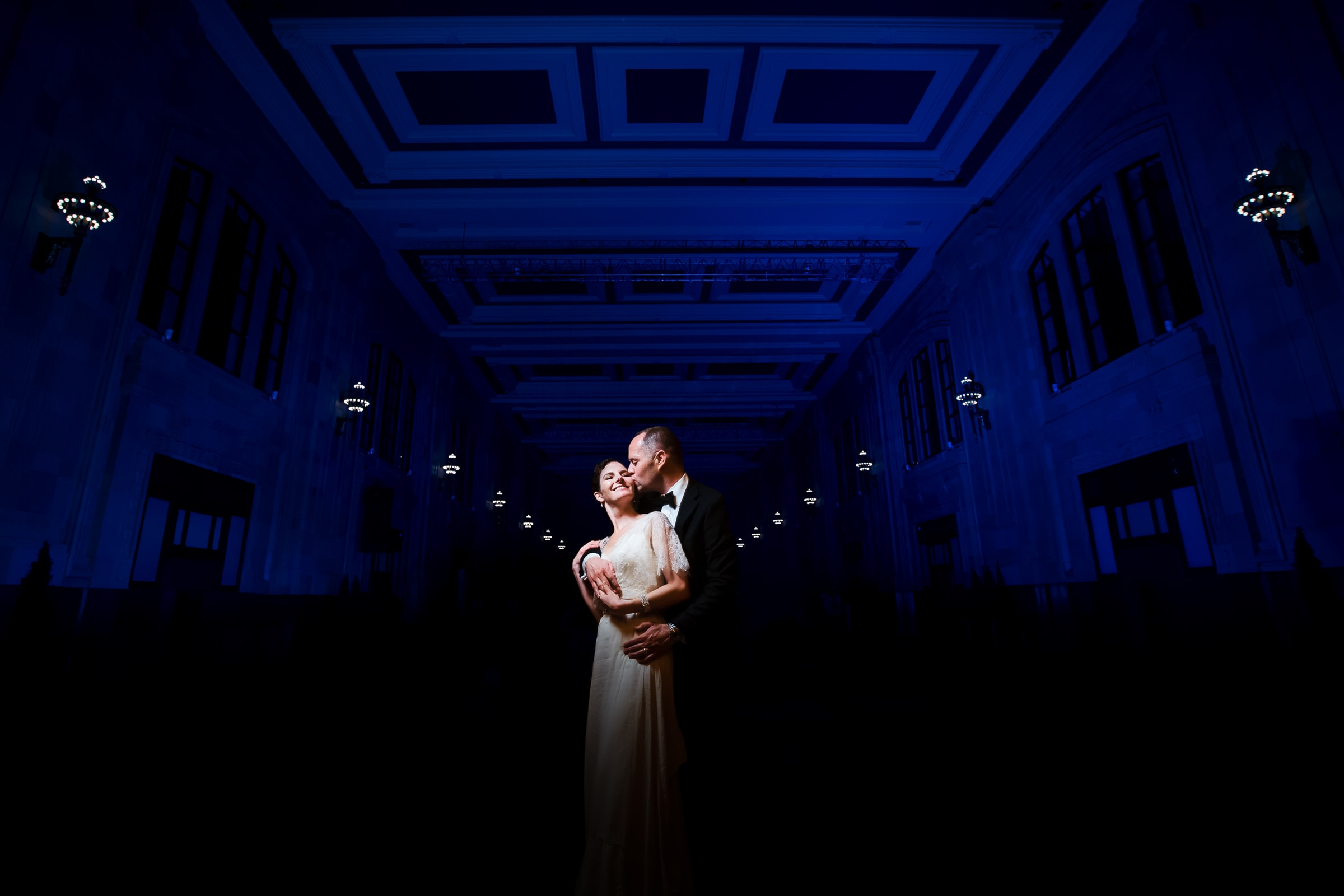 Bride and Groom embracing during a night shot during their Kansas City elopement