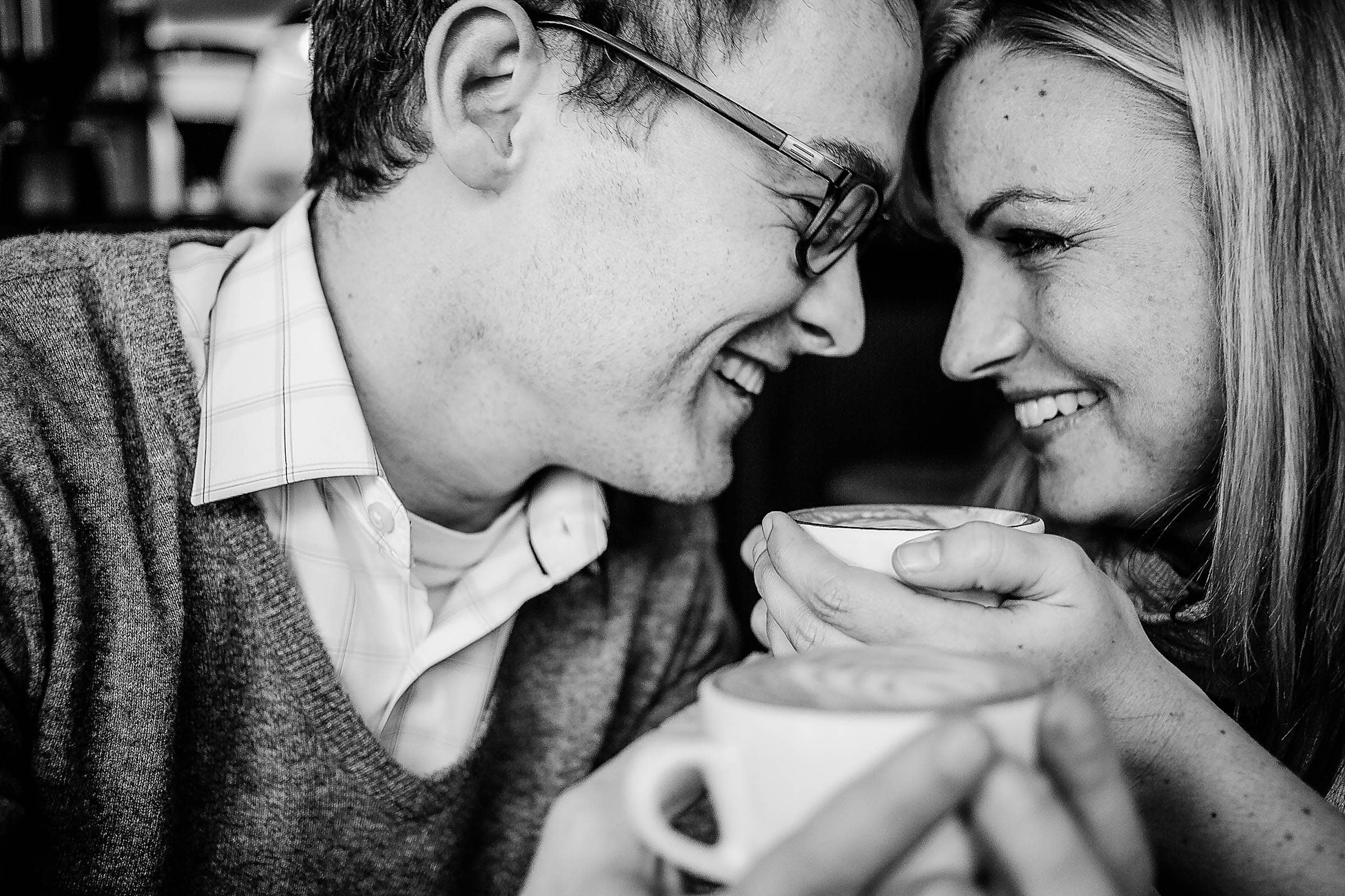 Killer engagement portrait in Portland's Barista coffee shop.