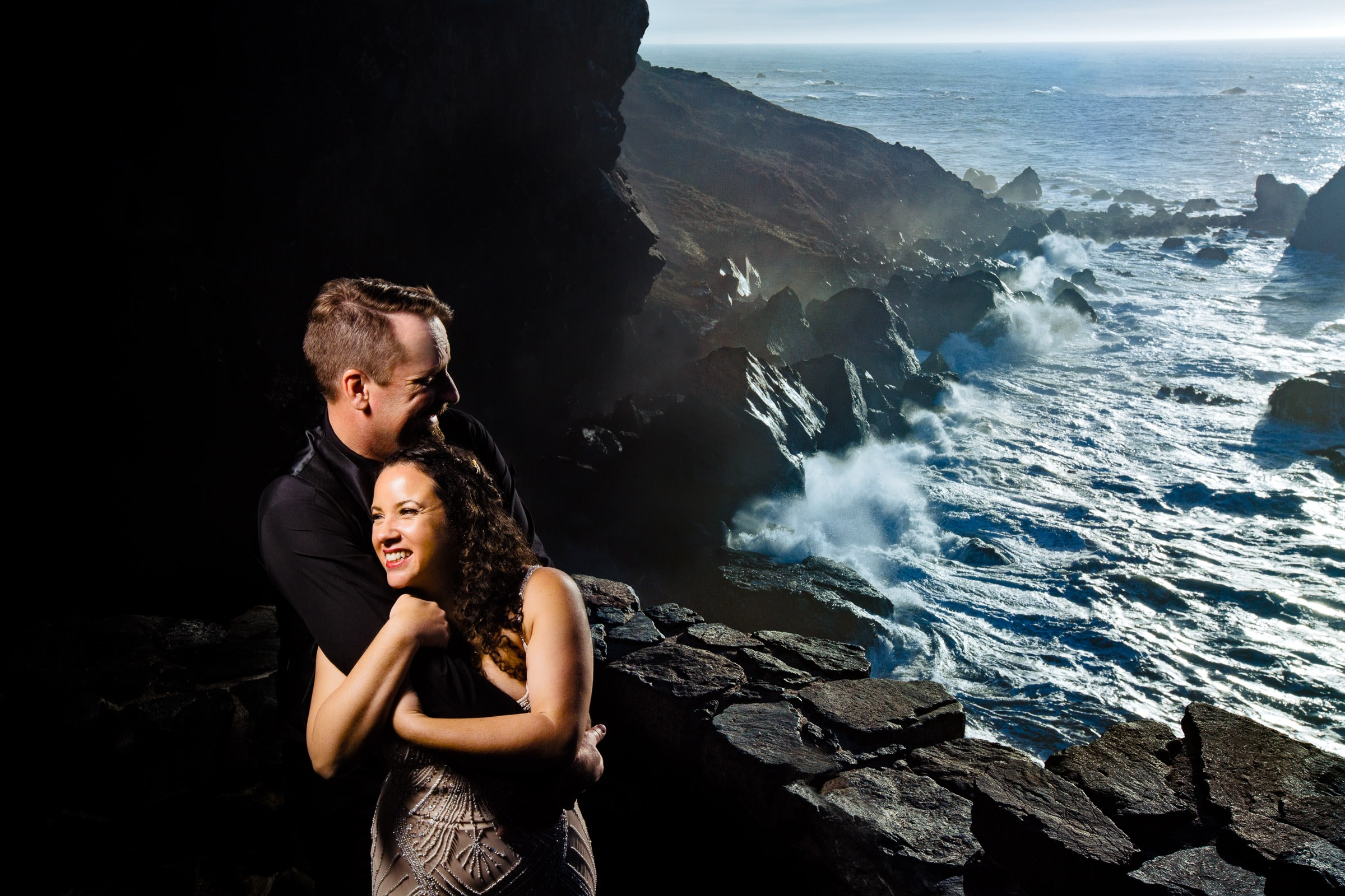 Gorgeous bride and groom portrait on Wedding Rock near Patricks Point in Trinidad California