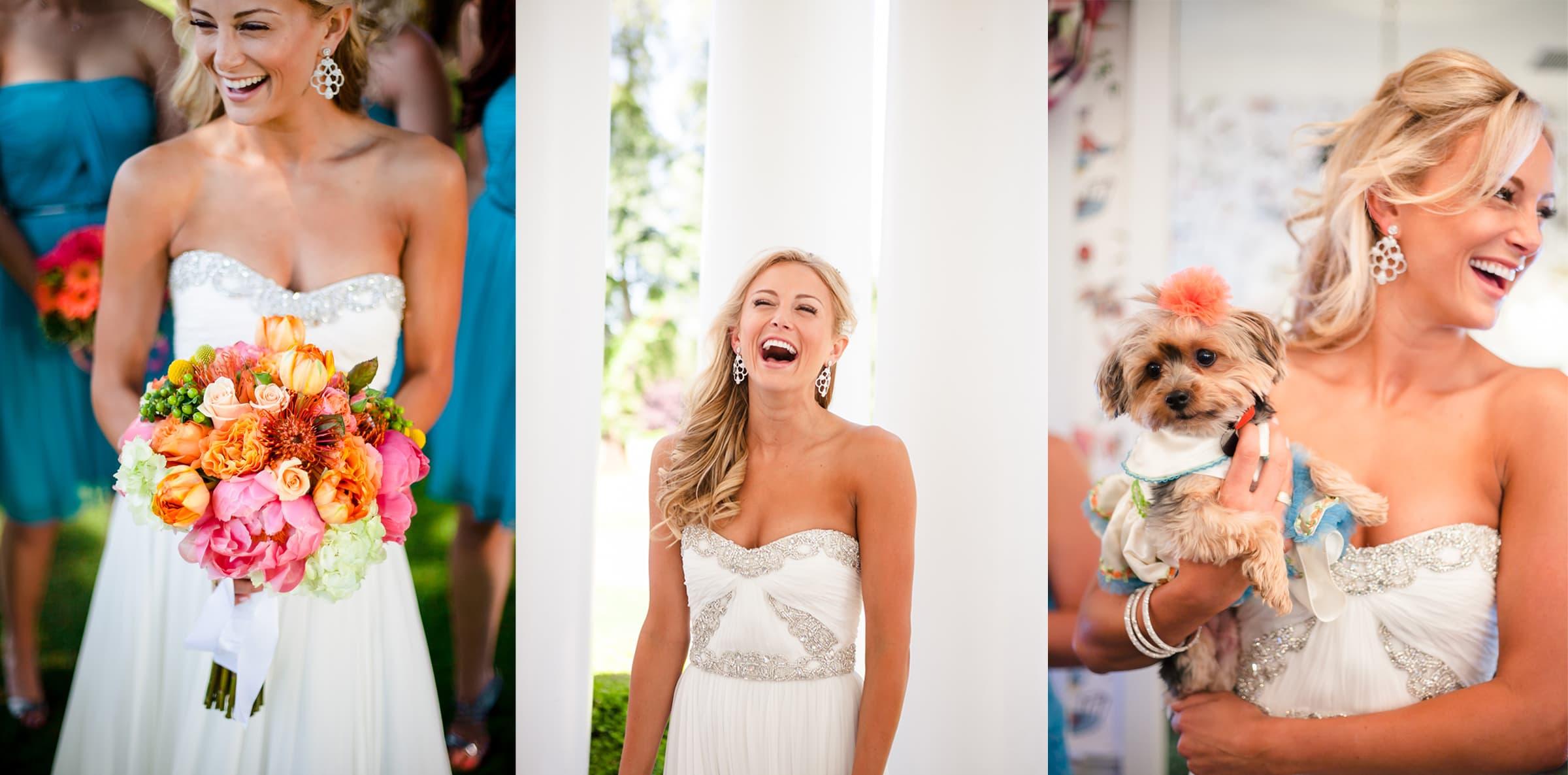Gorgeous fun bride getting ready at waverley country club wedding in Lake Oswego, Oregon
