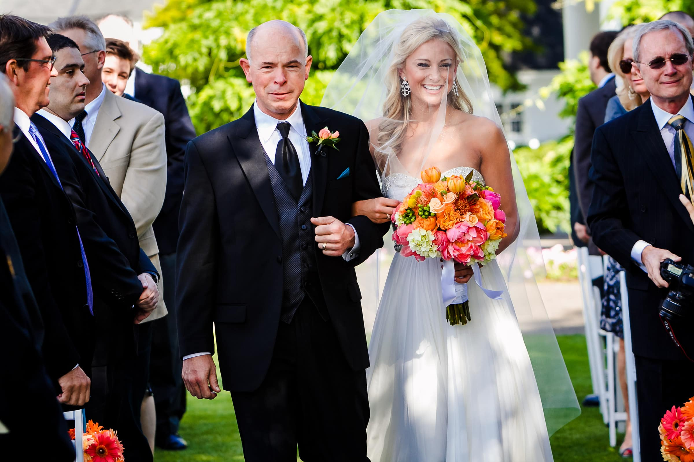 Beautiful bride walking into Waverley Country Club wedding in Lake Oswego, Oregon