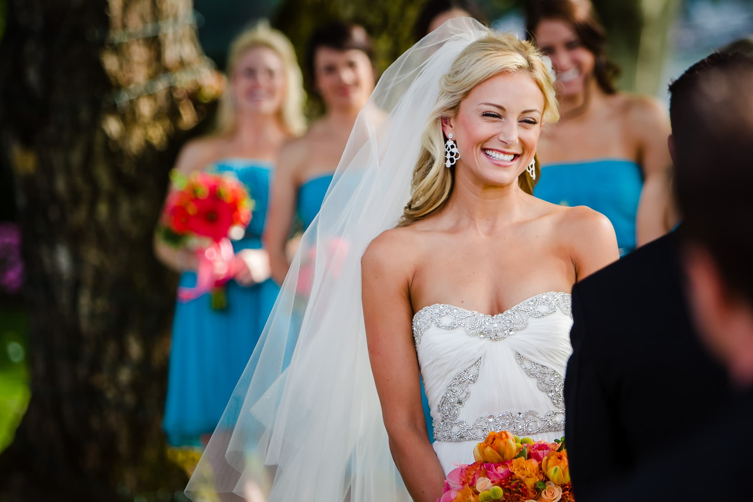 Gorgeous bride smiling during her Waverley Country Club wedding in Lake Oswego, Oregon