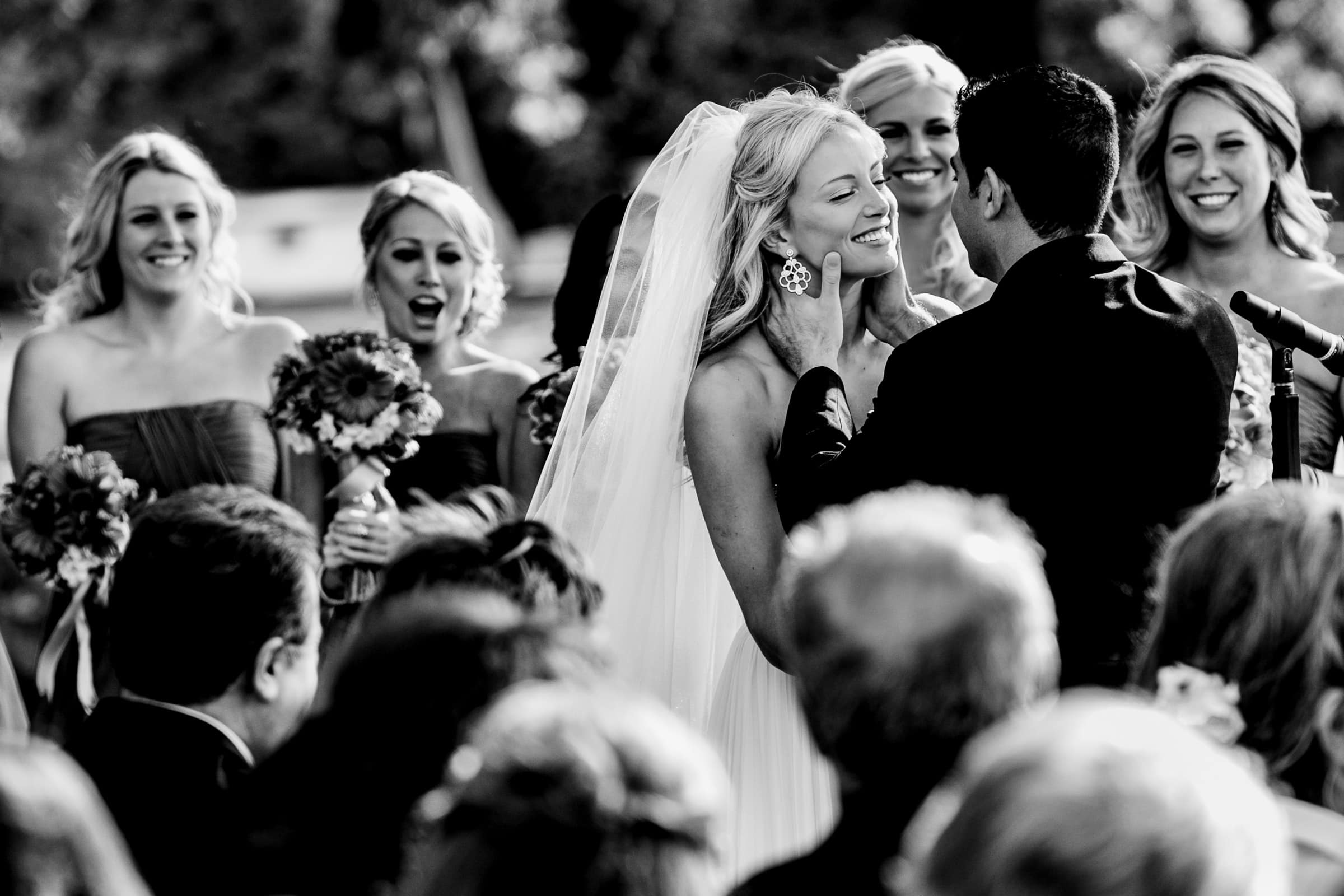 Bride and groom kissing during their Waverley Country Club wedding in Lake Oswego, Oregon
