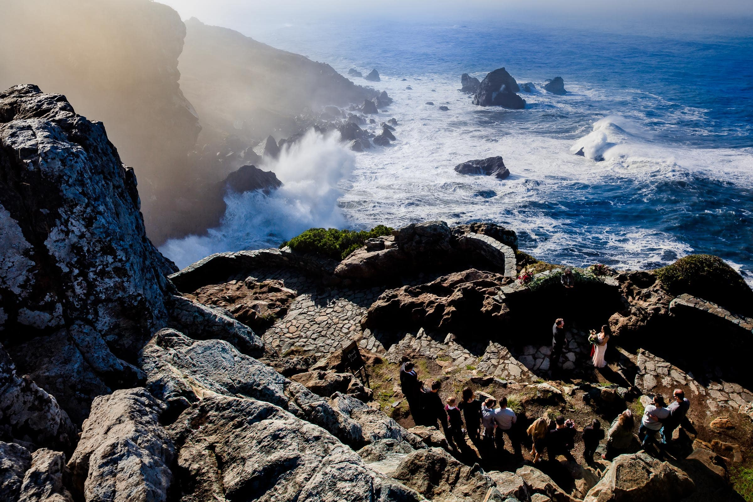 Epic wide angle photo of Patricks Point elopement ceremony on Wedding Rock near Trinidad California