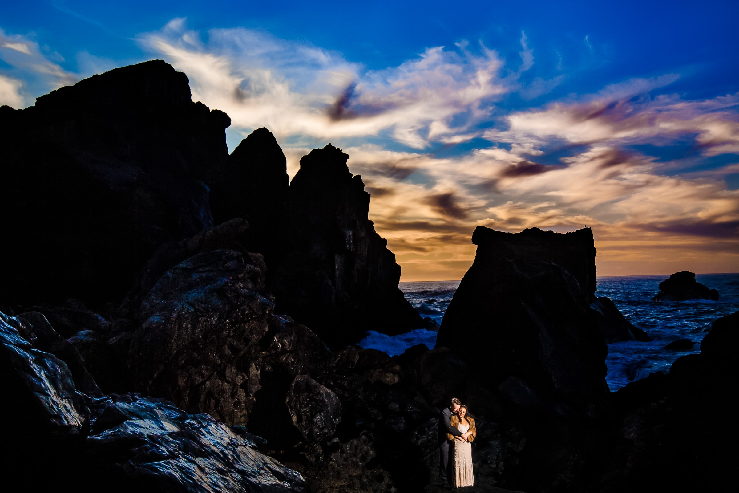 Bride and groom sunset portrait for their Patricks Point elopement on Wedding Rock near Trinidad California