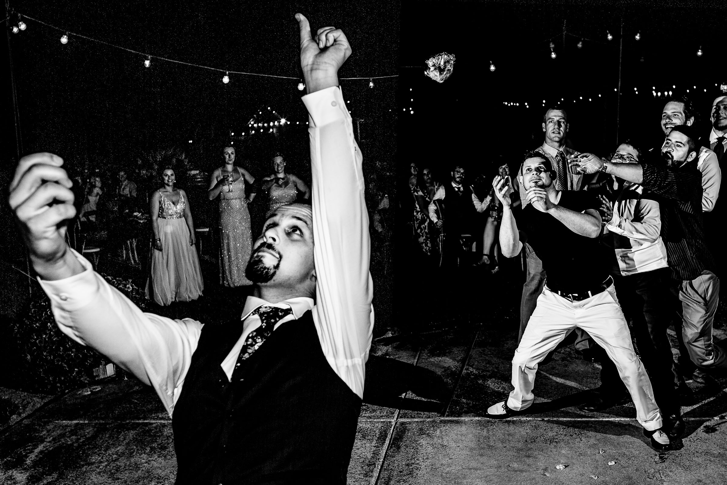 A great photo of a groom throwing the garter during a Postlewait's Country wedding located in the heart of the Willamette Valley between Portland and Salem near Aurora, Oregon