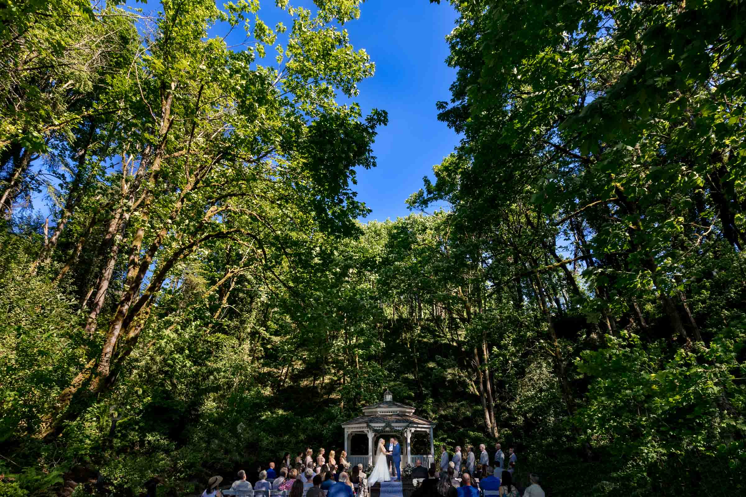 Wide angle view of an Abernethy Center Portland Wedding ceremony in Oregon City