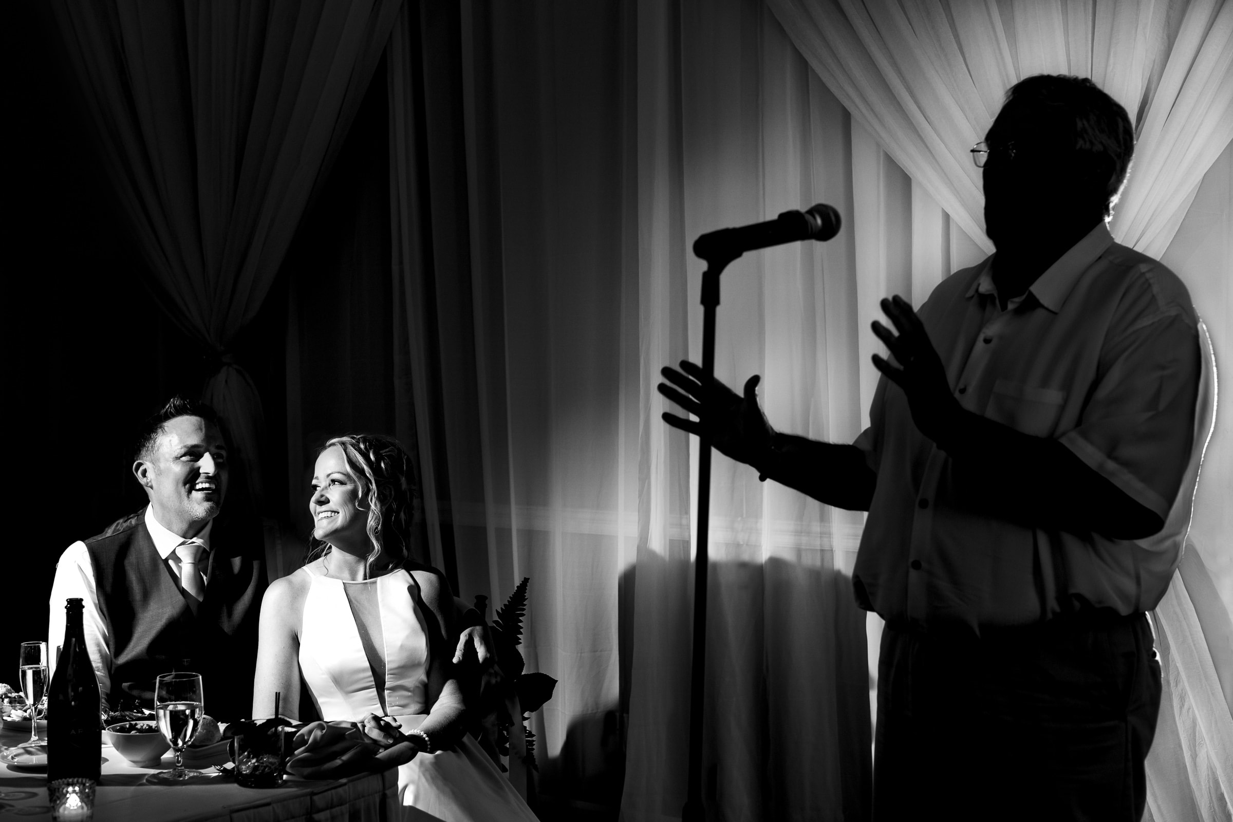 Fathers speech with hands during an Abernethy Center Portland Wedding reception in Oregon City