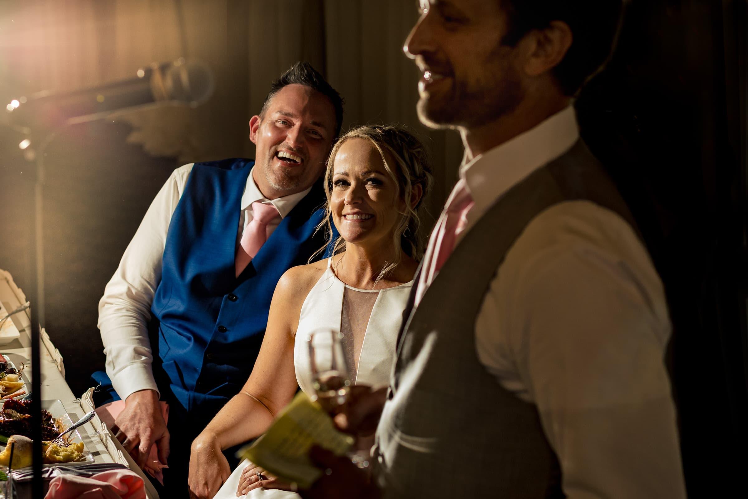 Best mans speech during an Abernethy Center Portland Wedding reception in Oregon City