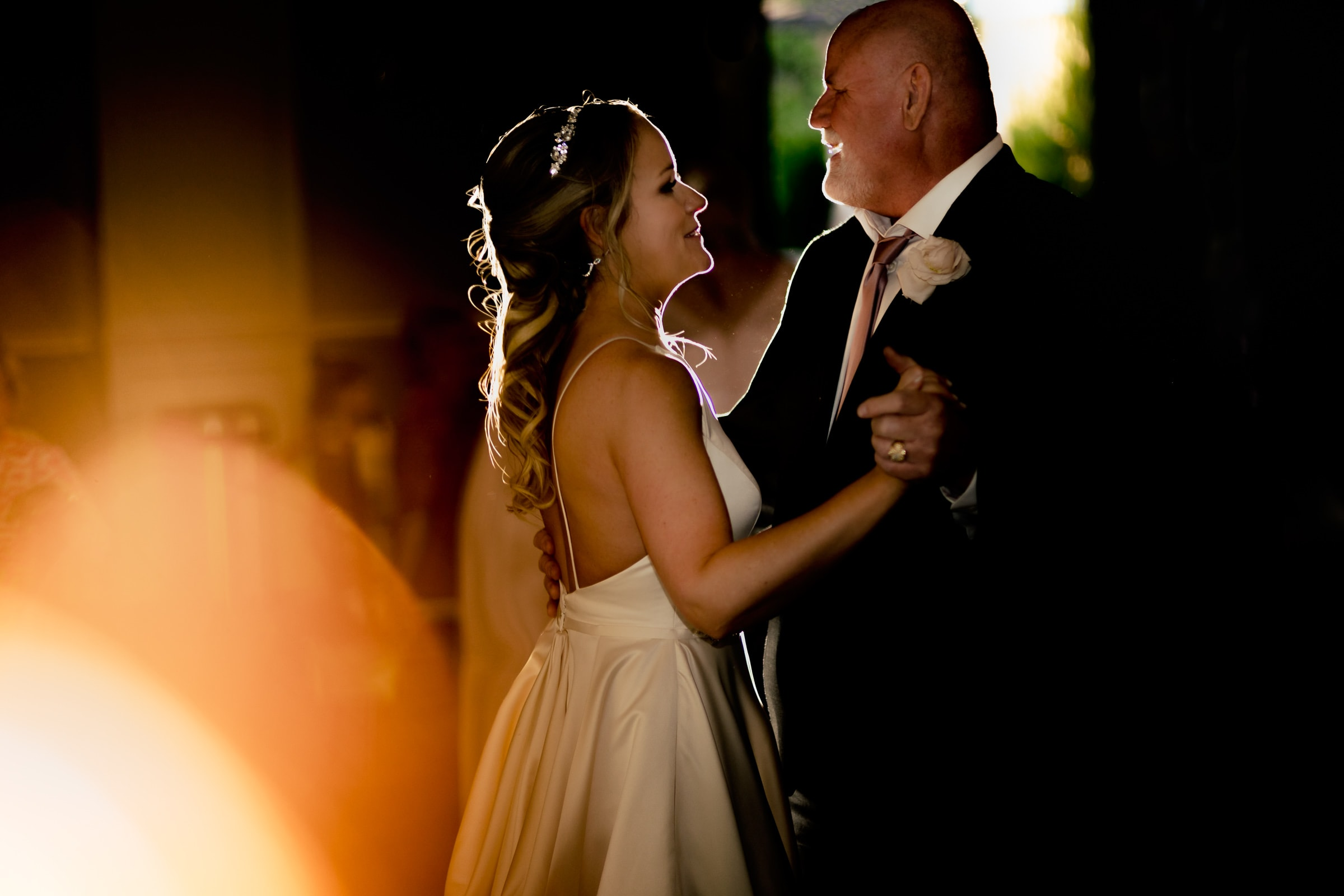 Bride dancing with her father during an Abernethy Center Portland Wedding reception in Oregon City