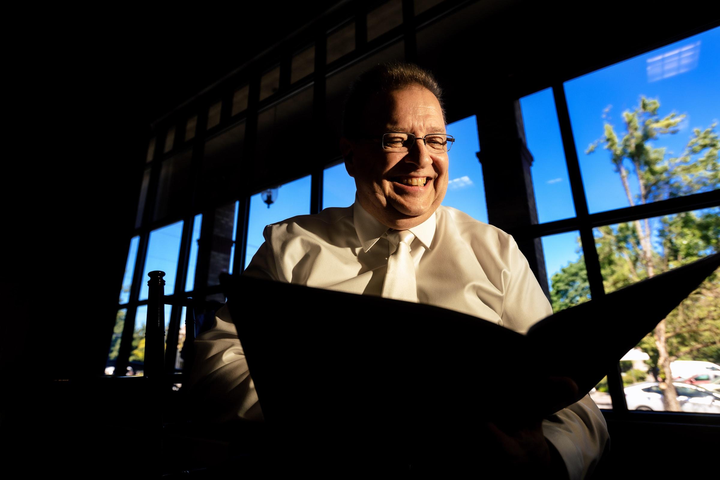 Officiant preparing for an Abernethy Center Portland Wedding in Oregon City