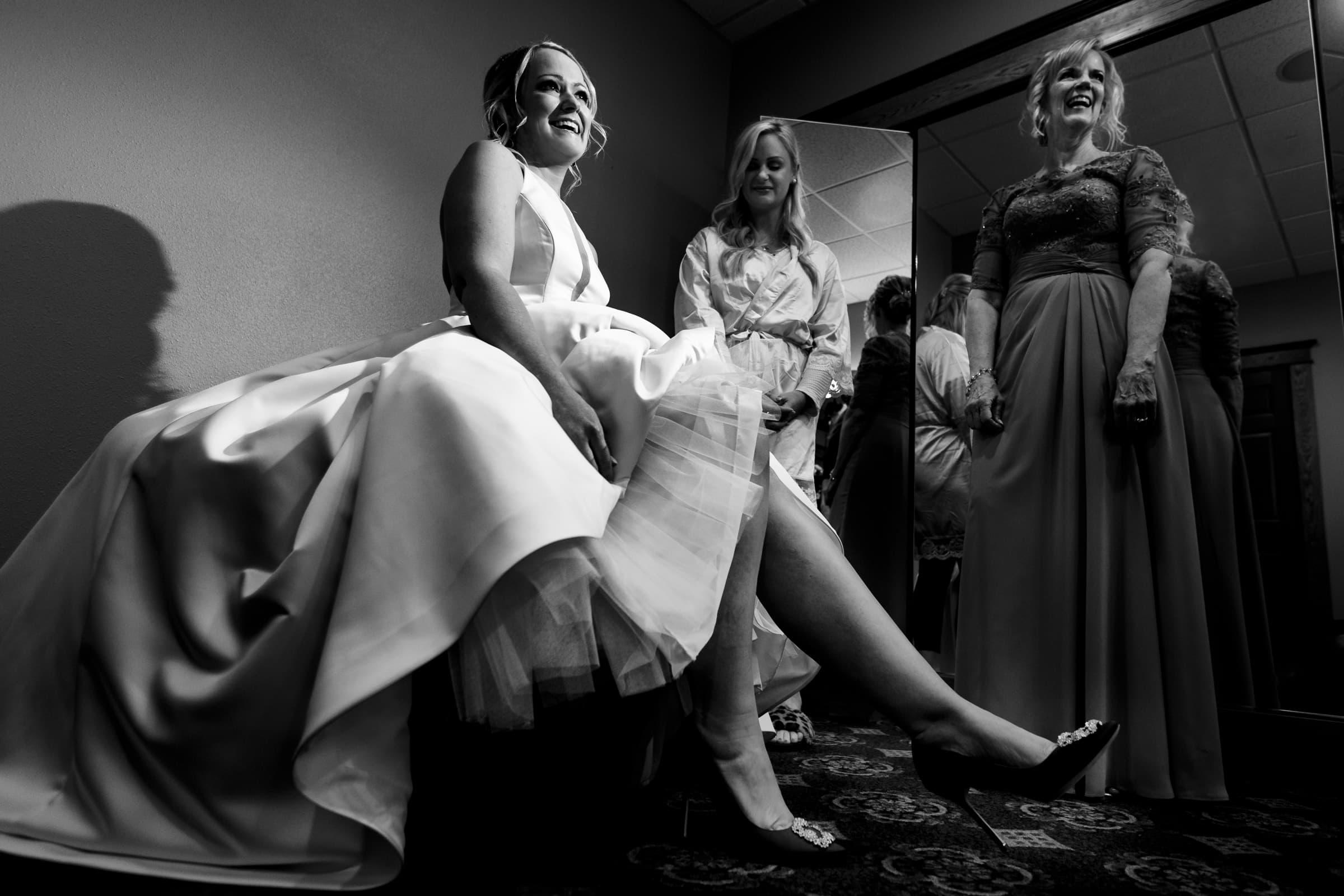 Bride getting ready for her Abernethy Center Portland Wedding in Oregon City