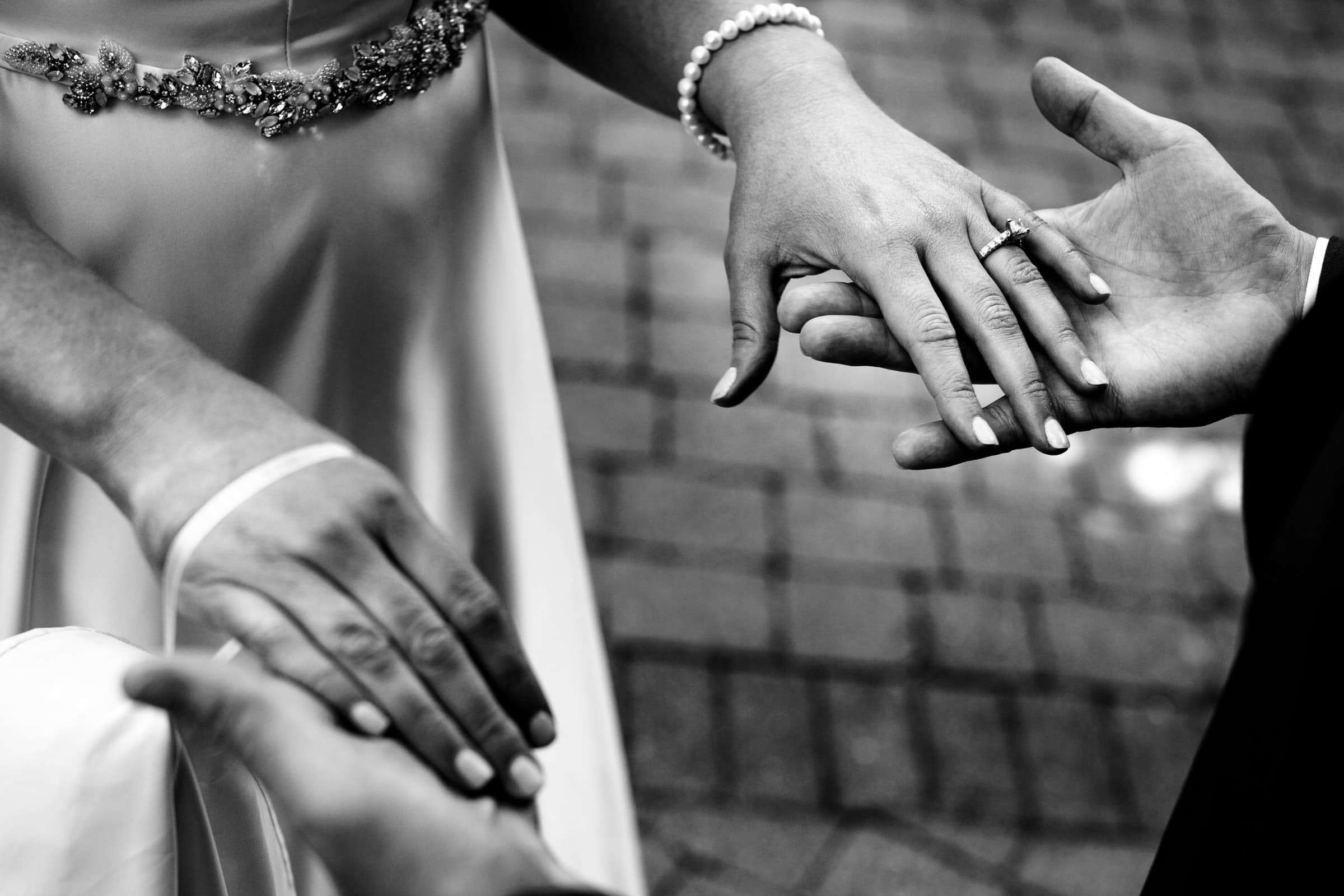 Bride and groom holding hands as they meet just before their Abernethy Center Portland Wedding