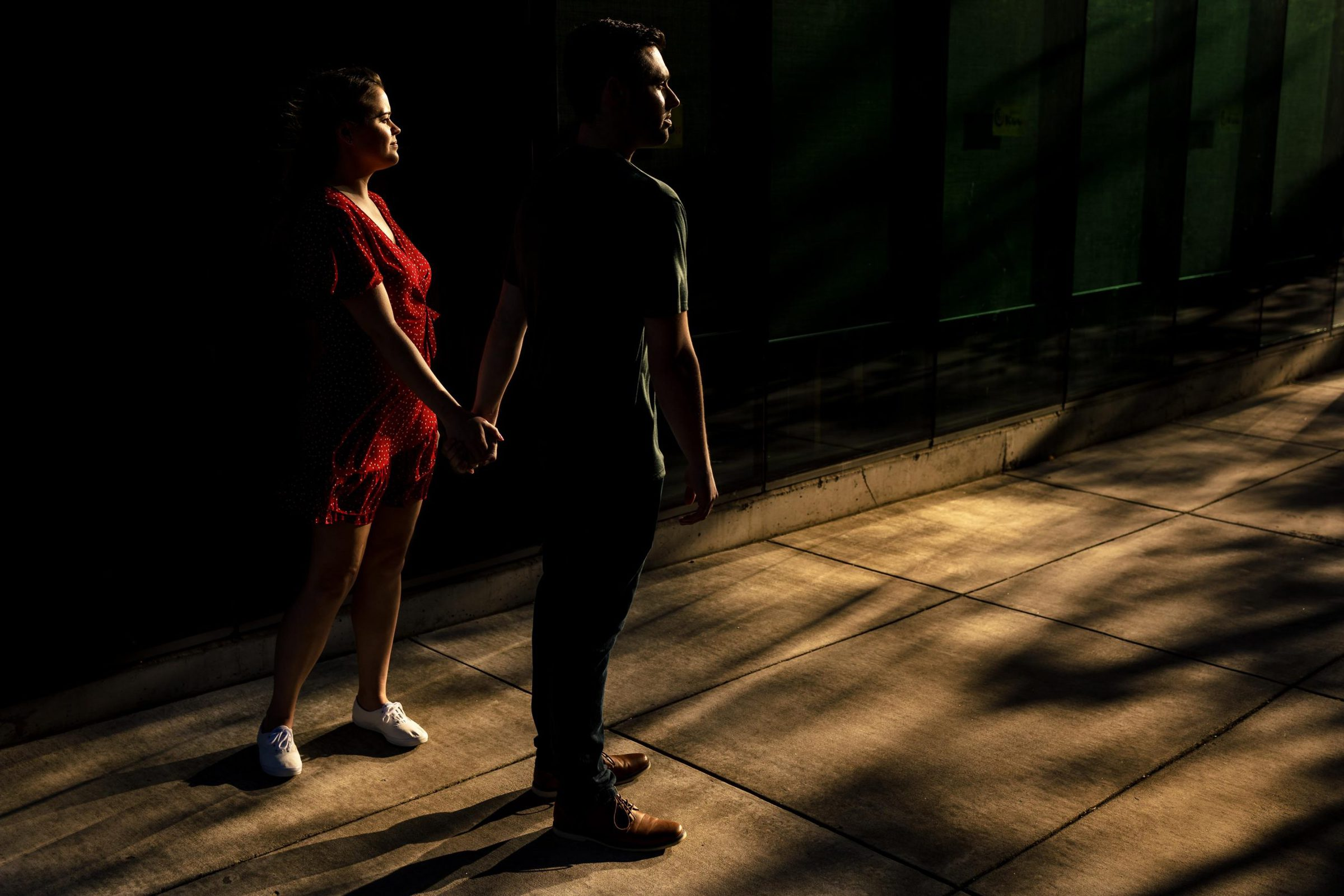 Beautiful and dramatic light on a couple for their Tilikum Bridge engagement photos